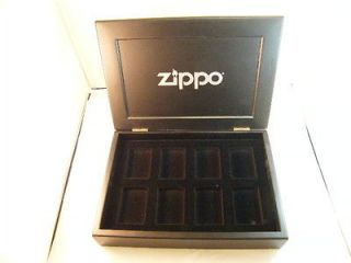 Original Zippo Solid WOODEN BLACK Display / Collector / Case 8 Place
