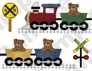 TEDDY BEAR TRAIN TRANSPORTATION BABY BOY NURSERY WALL ART BORDER