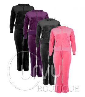 LADIES VELOUR HOODIE JACKET TRACKSUIT PURPLE GREY PINK BLACK UK 16 22