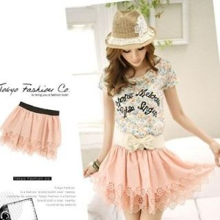 Women Sweet Double Layer Carved Lace Crochet Wave Pattern Skorts Korea