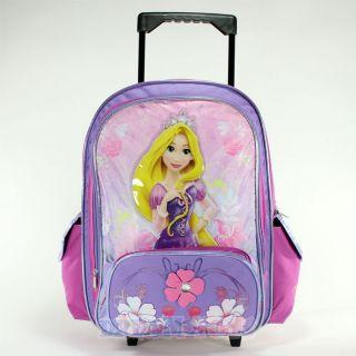 Disney Tangled Princess Rapunzel Flowers 16 Rolling Backpack   Roller