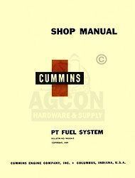 cummins pt fuel injection sys diesel engine shop manual time