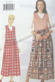 Misses Pullover Sleeveless Top Dress Pattern Raised Waist Dirndl Skirt