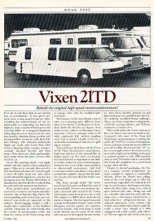 1986 Vixen 21TD Motorhome Camper   Road Test   Classic Article D121