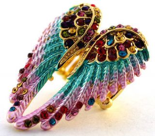 Multi color swarovski crystal stretchy ring angel wing,10 item free