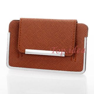 ORANGE LEATHEROID SILVER MAGNETIC STAINLESS STEEL WALLET BUSINESS CARD