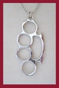 new silver duster brass knuckle necklace chain punk emo time