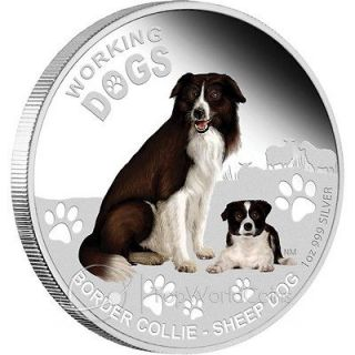 Tuvalu 2011 1$ Border Collie Working Dogs Proof Silver Coin