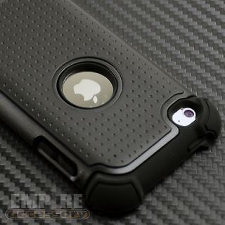 BLACK TRIPLE LAYER HYBRID IMPACT HARD CASE COVER iPod Touch 4th Gen 4G