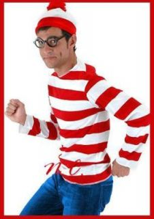 wheres waldo costume shirt hat glasses adult red l  xl red white plus