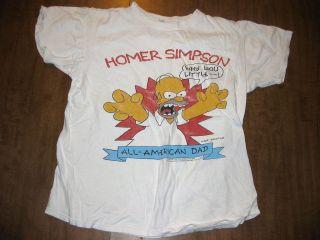 HOMER SIMPSON vtg T shirt med All American Dad FOX cartoon OG Simpsons