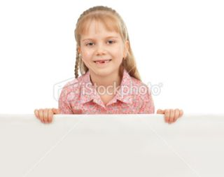 stock photo 12781764 little girl with blank