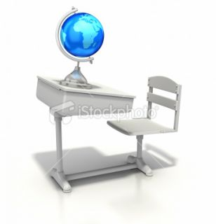 stock photo 11126812 school desk and globe