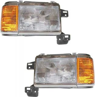FORD TRUCK BRONCO HEADLIGHTS WITH SIDE MARKERS AND BRACKETS R/L PAIR