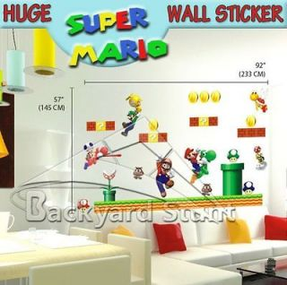 Huge Super Mario Wall Stickers/Decals Decoration NEW RepositIonable US