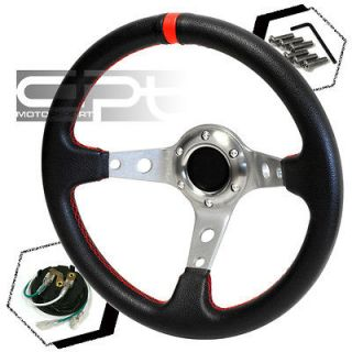 320MM 3 DEEP DISH 6 HOLE BLACK/SILVER STEEL STEERING WHEEL RED