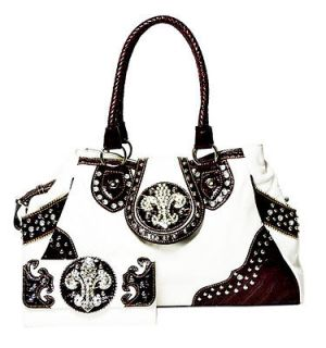 western cowgirl rhinestone fluer de lis bag with matching wallet