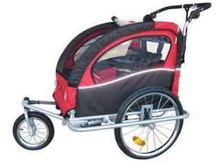 Booyah 3 in1 double baby kid bike trailer and jogger stroller Red