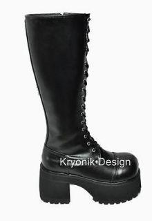 Demonia Ranger 302 goth gothic punk matte black platform knee boots