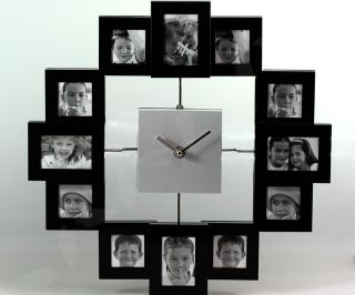 black large modern multi photo frame wall clock s28 from