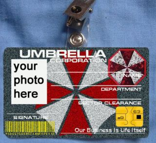 resident evil id card umbrella corporation corp costume one day