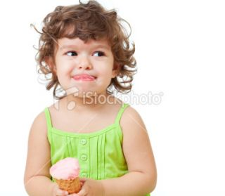 little girl with ice cream in studio isolated Royalty Free Stock Photo