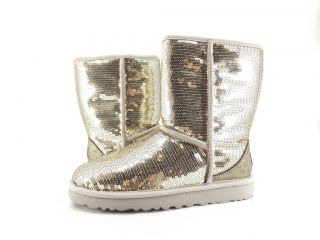 Womens Shoes   UGG AUSTRALIA   CLASSIC SHORT SPARKLES BOOTS SILVER