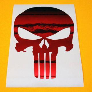 punisher skull red chrome decal sticker bonus decal time left