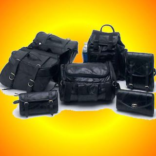 Newly listed 9 pc Leather Motorcycle Bag Set Saddle Bags For Harleys