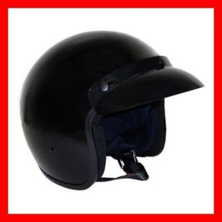 NEW DOT 3/4 Open Face Street Helmet Motorcycle Scooter Glossy Black