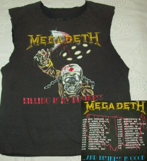MEGADETH 88 Vtg Tour Shirt L 50/50 Thin/Soft metallica slayer anthrax