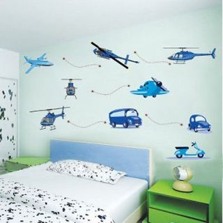 Airplanes Cars Helicopters Bus Removable Wall Sticker Decor Decal