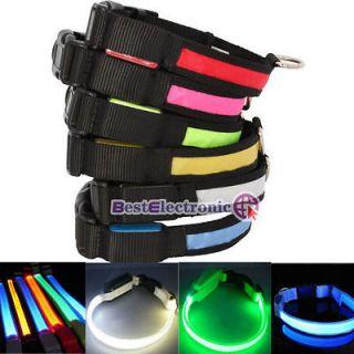 Size&6 Color LED Flashing Lighting Safety Pet Dog Nylon Flat