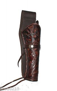 Right Hand 7.5 LONG BARREL Gun Holster Brown WESTERN COWBOY TOOLED