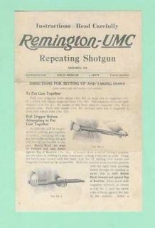 Remington Model 10 Early Fac Instruction Manual R