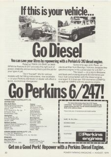 Vintage 1979 PERKINS 6/247 DIESEL ENGINE Advertisement TOYOTA CARS