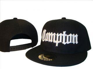 Black & White Compton Los Angeles Flat Bill Snapback Baseball Cap Caps