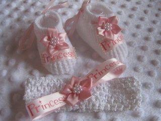 BABY GIRL PRINCESS PINK NEWBORN SHOE HEADBAND OUTFIT CLOTHING BUNDLE