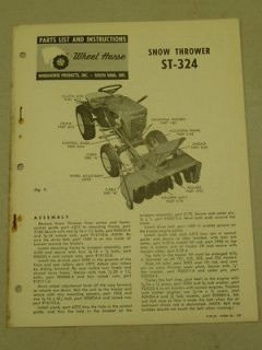 1963 WHEEL HORSE TRACTOR ST 324 SNOW THROWER PARTS LIST MANUAL