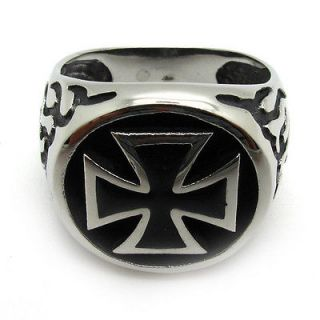 Newly listed Mens PUNK stainless steel inlay cool poker silver cross