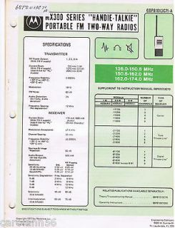 Motorola Manual MX300 SERIES HANDIE TALKIE PORTABLE #68P81013C71