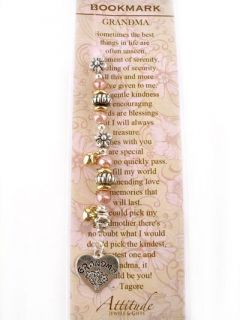 Newly listed Special Grandma Bookmark Poem Flowers Pink Beads