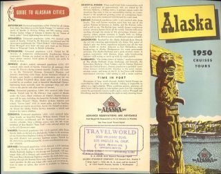 1950 brochure alaska line cruises golden belt line tour time