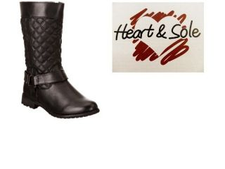 GIRLS HEART & SOLE CLASSIC BLACK QUILTED RIDING BOOTS SIDE ZIP ALL