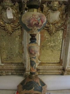 original Early & FineTall Barocco French Sevres artist signed OIL Lamp