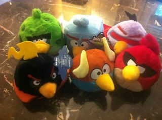 FULL SET OF 6 SPACE ANGRY BIRDS 5 INCH PLUSH CHARACTERS, NEW WITH TAGS