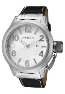 Gents Invicta Corduba Black Leather White Dial Screw Cap over Crown