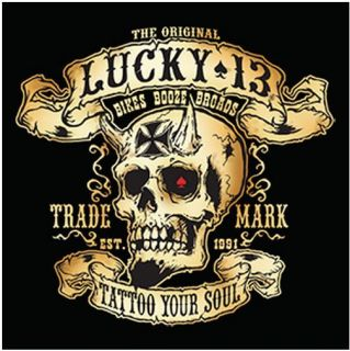 Lucky 13 Shirt Hot Rat Rod Rockabilly Tattoo Biker Skull Booze Broads