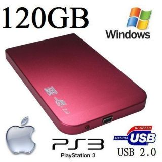 120GB External 2 5 Pink Ultra Slim Pocket Hard Drive Brand New