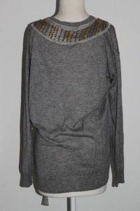 Phillip Lim Gray Silk Cashmere Beaded Sweater Shirt Size S
